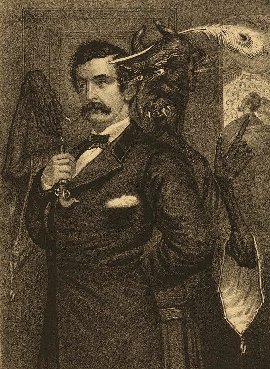 Lincoln's assassin, actor John Wilkes Booth, is goaded by a hideous Mephistophelian figure to shoot the unsuspecting President, who is visible in a theater box beyond. Booth stands erect, his left arm behind his back and a small pistol in his right hand. He stares straight ahead, seemingly mesmerized by Satan, who stands close behind him, pointing with one hand at the pistol and with the other at Lincoln. Rays of light issue from the demon's eyes, mouth, and ears. He wears a peacock feather on his head and is clad in a tassled medieval tunic.