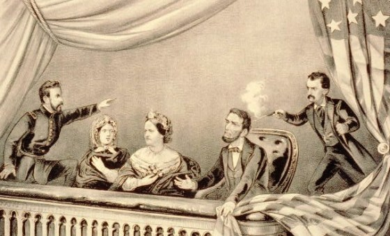 John Wilkes Booth shooting Lincoln before he lept on the stage shouting SIC SEMPER TYRANNUS