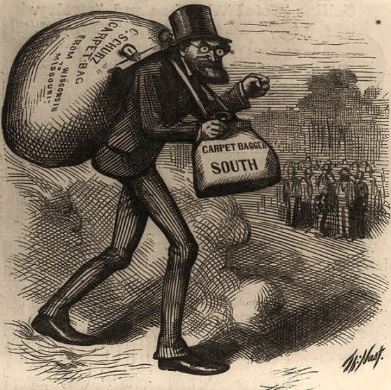 "The man with the (carpet) bags [Caricature of Carl Schurz carrying bags labeled, ""carpet bag"" and ""carpet bagger South"" - Library of Congress"