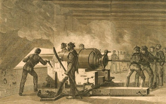 Interior of the Merrimac showing Confederate sailors loading cannon, during combat with the Monitor.