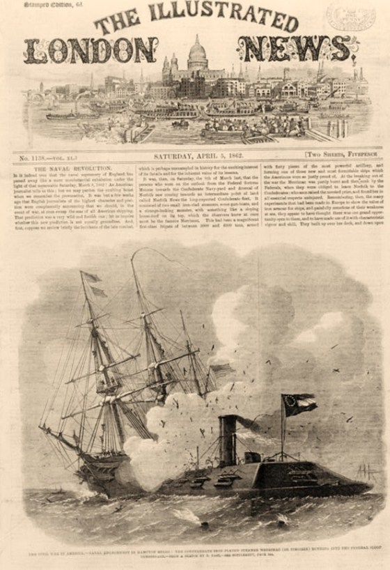The Civil War in America--Naval engagement in Hampton Roads: the Confederate iron-plated steamer Merrimac (or Virginia) ramming into the Federal sloop Cumberland