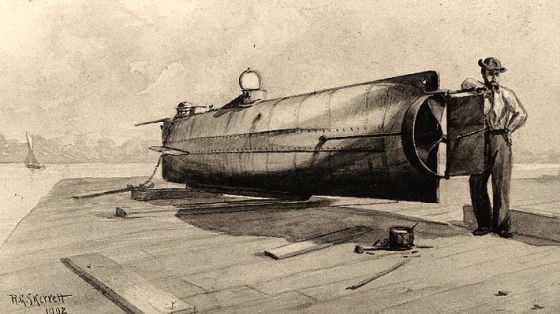 Confederate Submarine H.L. Hunley (1863-1864)Sepia wash drawing by R.G. Skerrett, 1902, after a painting then held by the Confederate Memorial Literary Society Museum, Richmond, Virginia. Courtesy of the Navy Art Collection, Washington, DC. U.S. Naval Historical Center Photograph.